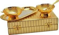 Designer Silver Gold Plated Brass Serving Bowl Set For Home Decor Set Of 2 Piece