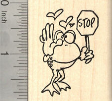 Valentine's Day Frog Rubber Stamp, Stop in the Name of Love G26707 Wm