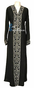 Elegant Open Nidha Abaya with White Stones - Jilbab Batwing Kaftan Dress Kimono