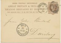 "GB 1879 QV 1d brown VFU postcard barred Duplex-cancel ""LONDON-E.C / 99"" DUISBURG"