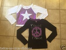 2 PC Lot SO Long Sleeve Purple Black White Silver Size XL 16 Sequins Star Peace