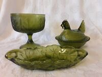 Indiana Glass Green Lot of 3 Hen On A Nest Candy Trinket Dish Compote Dish