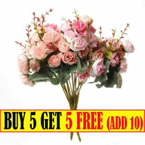 Artificial Fake Flowers Silk Rose Peony Bunch Bouquet Wedding Party Garden Decor