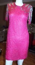 Women's Vintage 1980's 80's Beaded Mini Silk Dress by Scala Sz PM