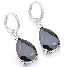 European Fashion Woman Black Onyx Gemstone Dangle Hook Earrings
