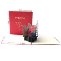 3D Pop Up Greeting Card Handmade Wedding Valentine Birthday - Cartoon Spiderman