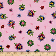 Fabric Imperial Paisley Flowers on Pink Cotton by the 1/4 yard