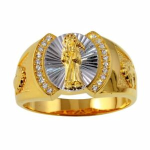 Men's Sterling Silver Yellow Gold Plated CZ Stones Santa Muerte 2-tone Ring