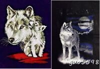 """New Finished Completed Cross Stitch Needlepoint""""Wolf""""Home Wall Decor Gifts"""