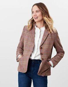 Joules Womens Highcombe Single Breasted Tweed Jacket - Pink Tweed - 14