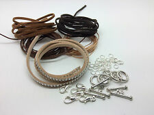Brown Tan Faux Suede and Polyester Waxed Cord Necklace and Bracelet Making Kit