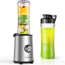 Portable Stainless Steel Smoothie Blender, 3 Modes with 2 of 600ml bottles