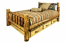 King Storage Bed with Drawers Rustic LOG Beds Lodge Cabin Furniture Amish Made