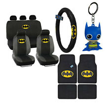 New Batman Front Back Car Floor Mats Seat Covers & Steering Wheel Cover Keychain