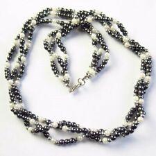 4mm Black Hematite/White Pearl Shell Ball Pendant Necklace 17.5 inch L91303