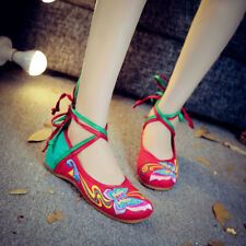 Womens Embroidered Floral Ballet Flat Shoes Straps Retro Chinese Loafers zx00