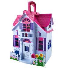 Puppenhaus Klappbar 6 Zimmer Möbel Figuren Familie mit Hund Spielzeug 6079