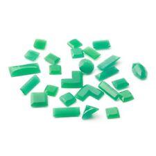 Lot (25) Czech vintage Art Deco geometric chrysoprase green glass rhinestones