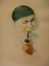 ARMAND HENRION - Autoportrait en Pierrot fumant - Eau forte originale numérotée