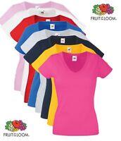 Femmes Fruit of the Loom Uni Coton Compatible Avec V Col En Cou T-Shirt