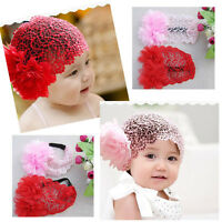 Baby Girls Toddler Flowers Lace Headband Hair Band Headwear Beanie Hat 3 Colors