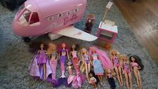 Vintage 1999 Mattel BARBIE Glam Vacation Jet Airplane & Figure Lot 90s RARE