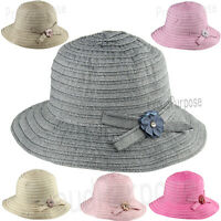Women Summer Bow-Knot Floppy Bucket Hat Sun Visor Wide Brim Cotton Cap S1837