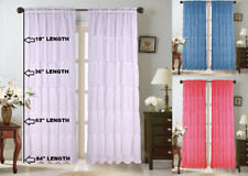 1Pc Voile Sheer Crushed Ruffle Window Dressing Curtain Panel Drape Treatment