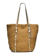 MICHAEL KORS Large Studded Straw Shopper Tote Shoulder Bag Cream Combo Nwt $228