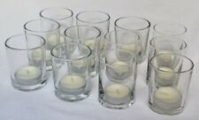 Set of 12 Glass Votive Candle Holders w/ 12 *Free* New Tea Light Candles