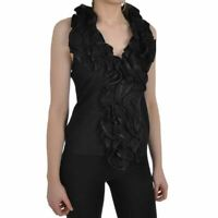 Black Halterneck Top Sleeveless Blouse Frill Ruffle Front Party Occasion Event