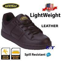 men's work safety work  shoes black leather slip resistant Skate Shoe st