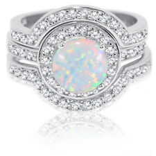 Silver Wedding Engagement Three Ring Set Large Halo Round White Fire Opal