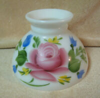 "Vtg Milk Glass Lamp Shade Floral Rose Hand Painted 8"" Fitter"