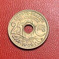 #3823 - RARE -  25 centimes 1939 Lindauer SPL/FDC sortie de rouleau - FACTURE