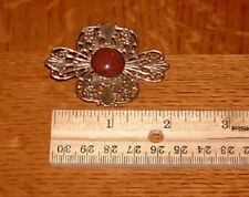 Vintage Filigree Brass Tone with Center Stone Brooch Pin