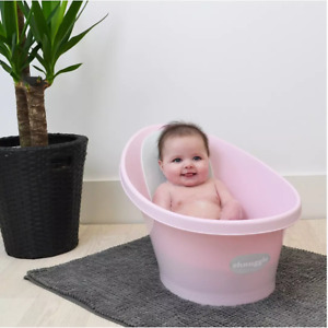 Shnuggle Baby Bath with Foam Backrest x Upright Support Infant Bathing Tub Rose
