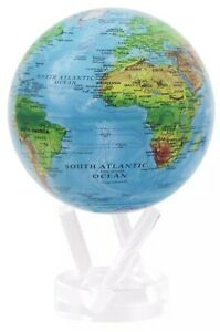 """Relief Map Blue MOVA Globe 4.5"""" Inch New SPINNING"""