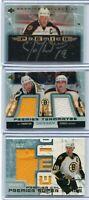 03-04 UD Premier  3 Cards lot Joe Thornton  Auto Premier + Jsy/100 +Dual jsy/100