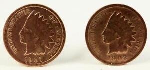 Indian Head Penny Cufflinks 1902 & 1907 SUPER NICE PAIR!!!