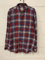 Chaps Men's Soft Brushed Flannel Red Plaid Check Shirt Long Sleeve Size XL