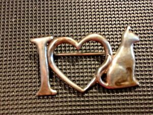 Vintage H&H GLV le Matteo I Love Cats Sterling Pin