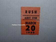 RUSH 1980 Concert Ticket Audit Stub PORTLAND COLISEUM Geddy Lee PEART Very Rare