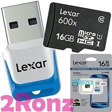 Lexar 16GB 16G 600x Micro SDHC SD Flash Card UHS-I C10 90MB/s w/ USB 3.0 Reader