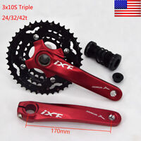 3x10S MTB Bike CNC Crankset 170mm Crank 104/64bcd Chainring Bottom Bracket BB
