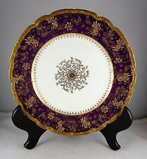 Limoges French Porcelain Gold Medallion Purple Cabinet Plate