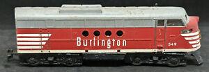 ATT HO scale  Stewart Burlington F7  Diesel Locomotive  #549, RUNS! VINTAGE