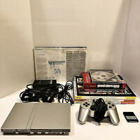 Sony Playstation 2 PS2 Silver Slim Console Bundle GTA Games & Guides TESTED