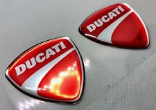 2 pcs. Ducati logo 3D Domed Stickers.  48x50 mm. Silver Red