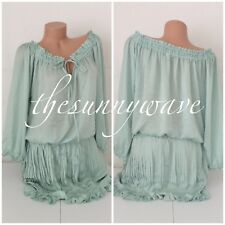 Victoria's Secret Peasant Boho Pleated Tunic Top Blouse Ruffle Dress Cover Up L